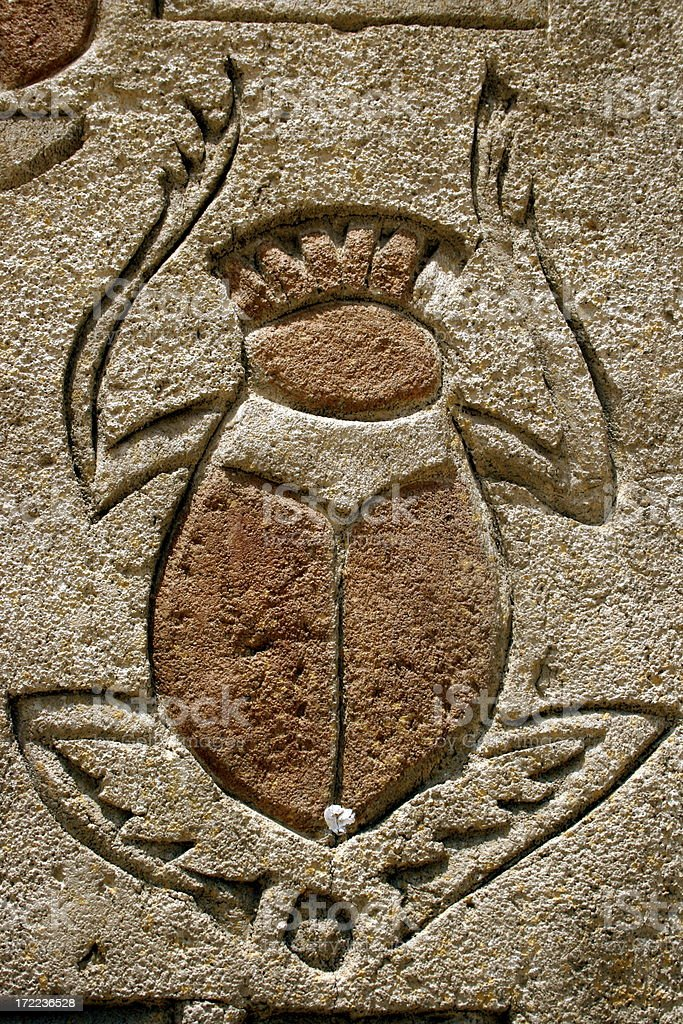 Hieroglyphic with dung beetle royalty-free stock photo