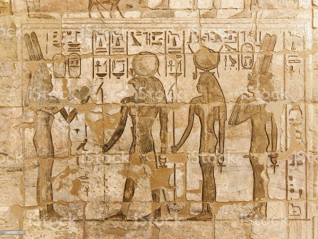 Hieroglyphics at Medinat Habu Temple stock photo