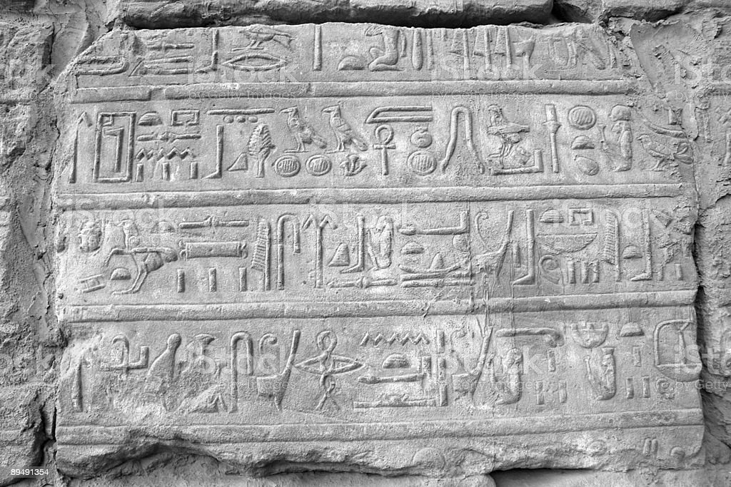Hieroglyphics at temple of Karnak. royalty-free stock photo
