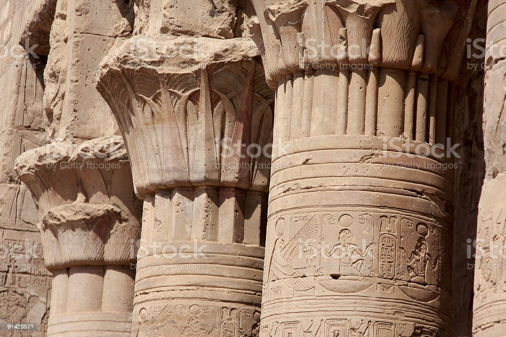 Hieroglyphics at the Temple of Horus in Edfu, Egypt royalty-free stock photo