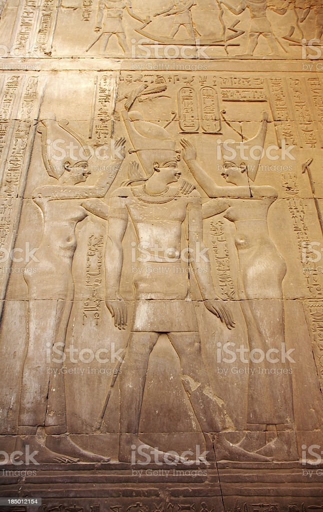 Hieroglyphics Depicting Royal Coronation stock photo
