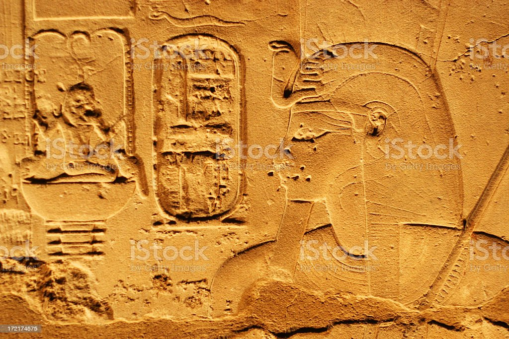 Hieroglyphics in a temple royalty-free stock photo