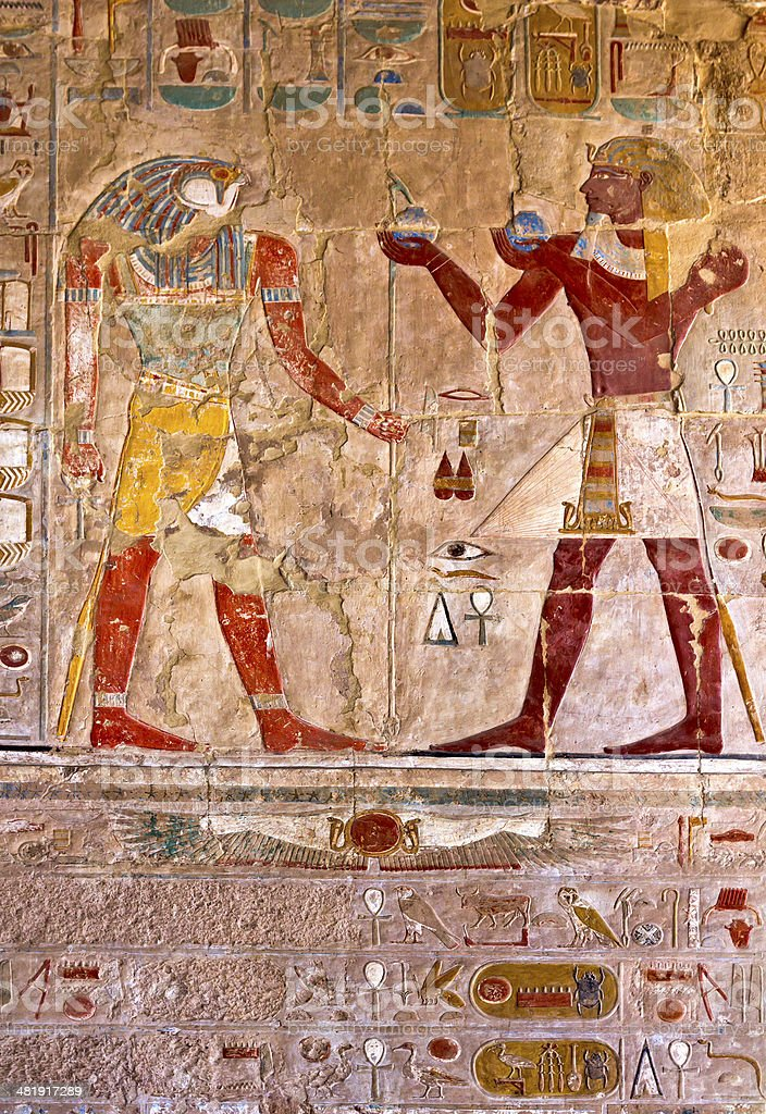 Hieroglyphics in Temple of Hatshepsut stock photo