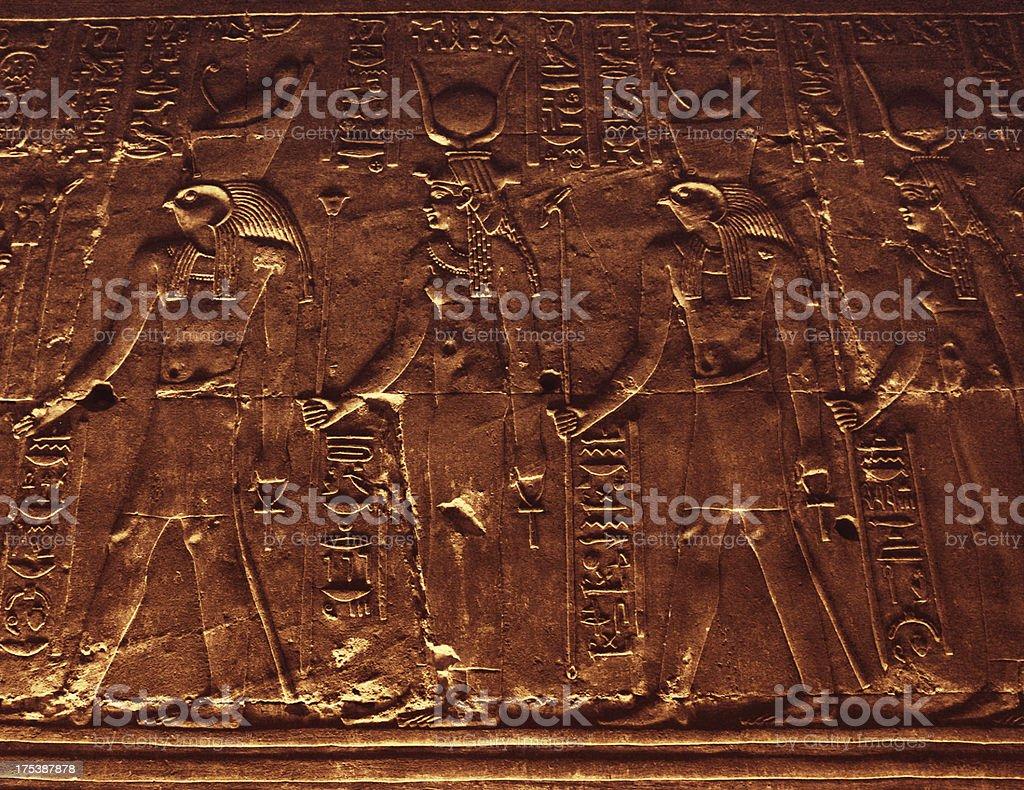 Hieroglyphics Inside Horus Temple stock photo