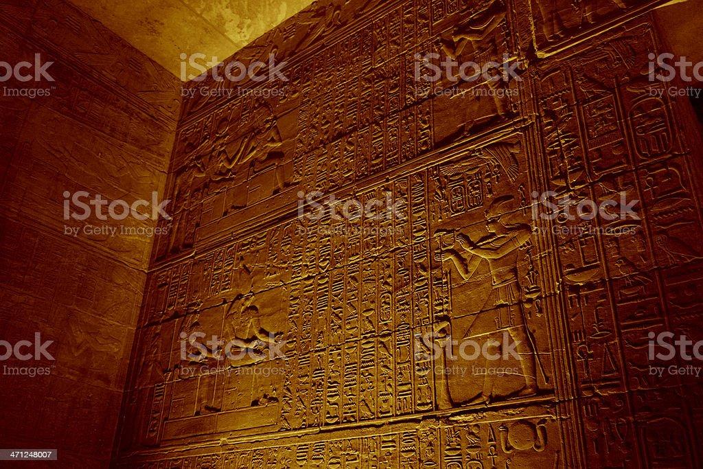 Hieroglyphics Inside Horus Temple royalty-free stock photo