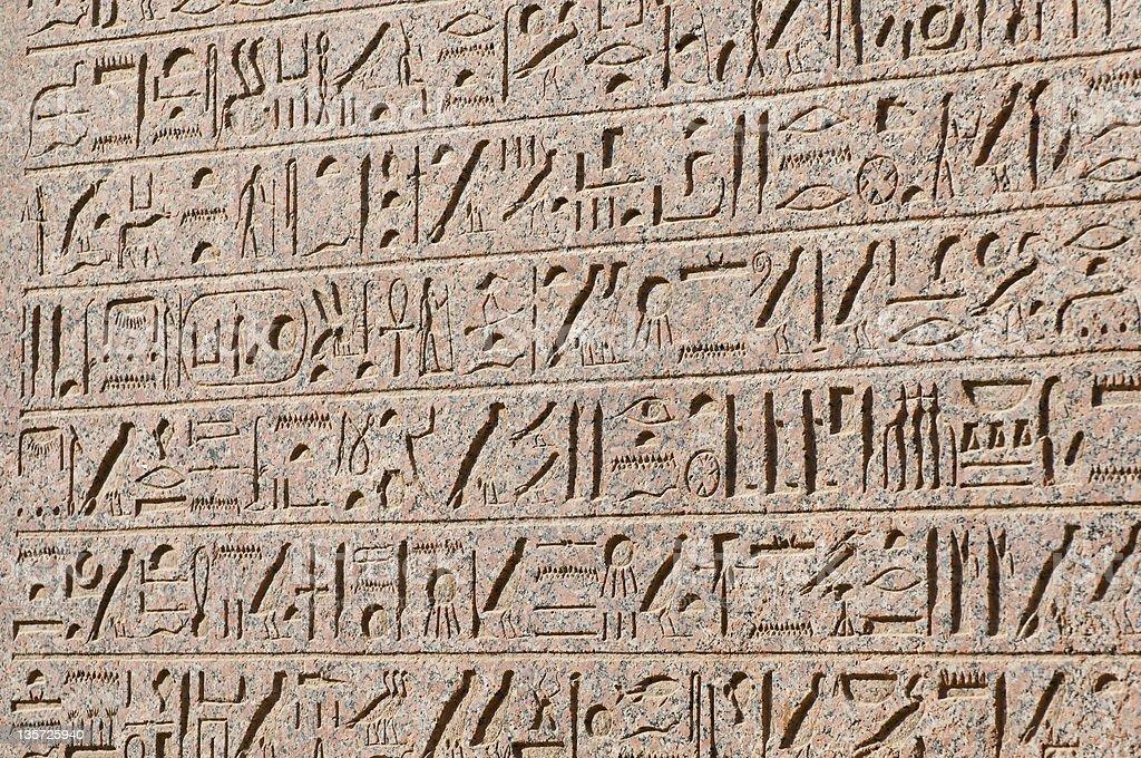 Hieroglyphics on a wall at Karnak Temple, Egypt royalty-free stock photo