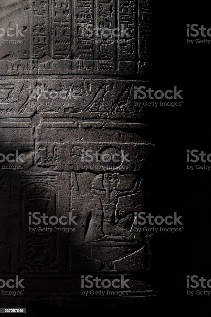 Hieroglyphics on temple wall stock photo