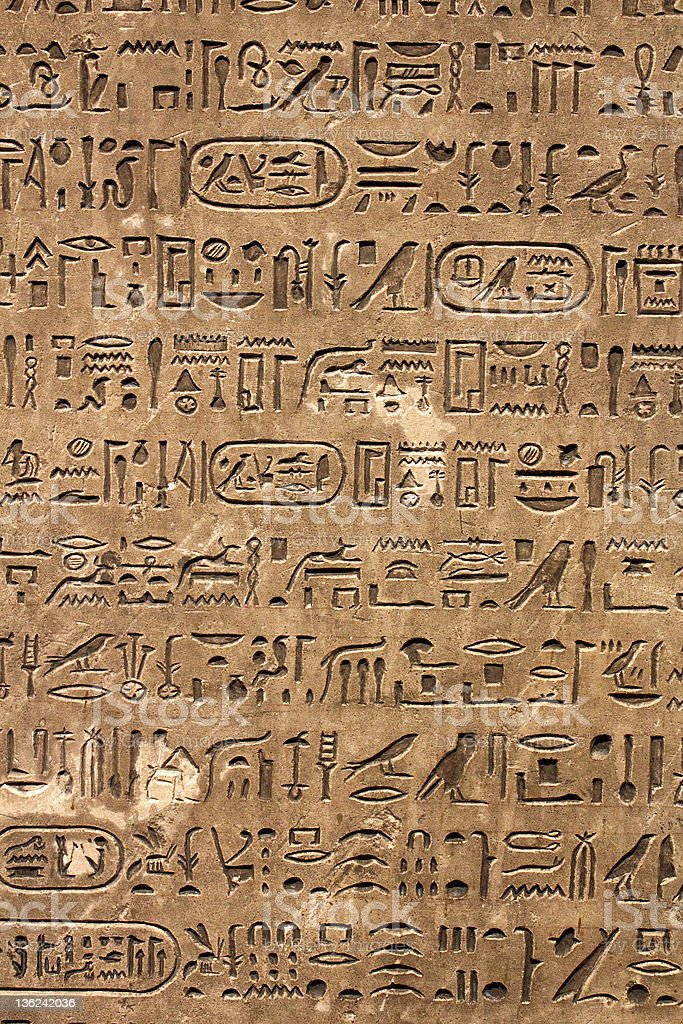 Hieroglyphics stock photo