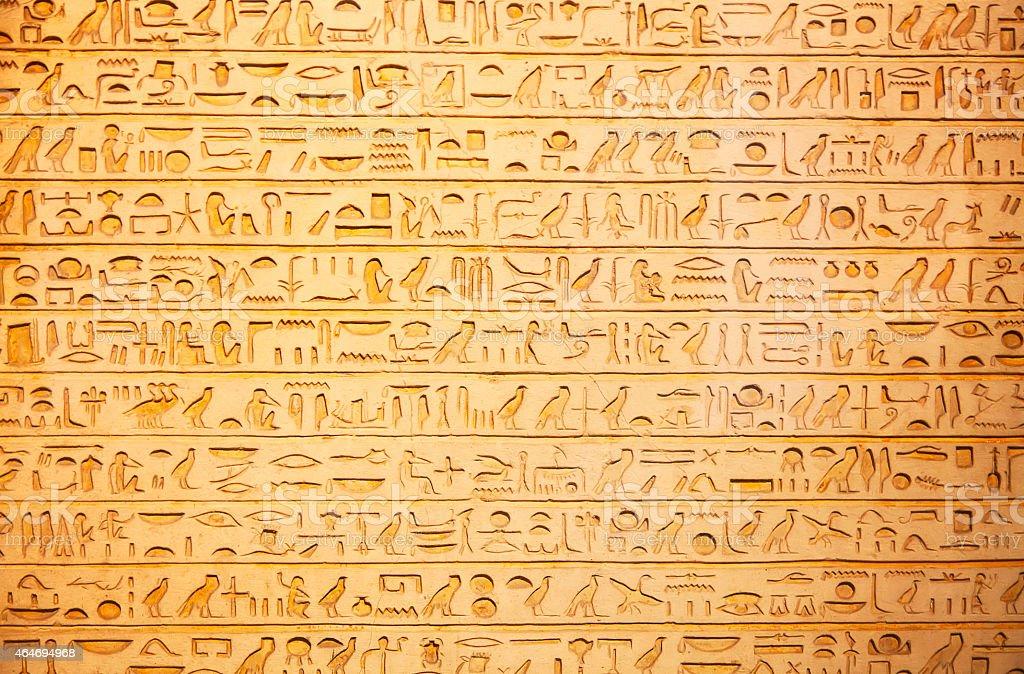 Hieroglyphs on the wall stock photo