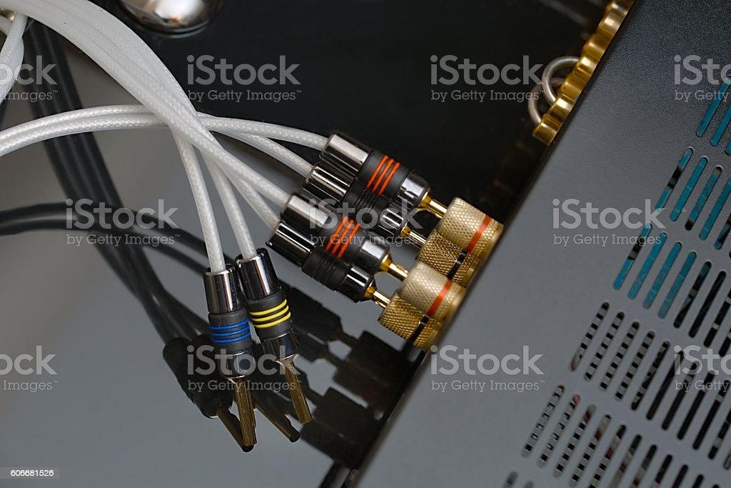 Hifi amplifier back stock photo