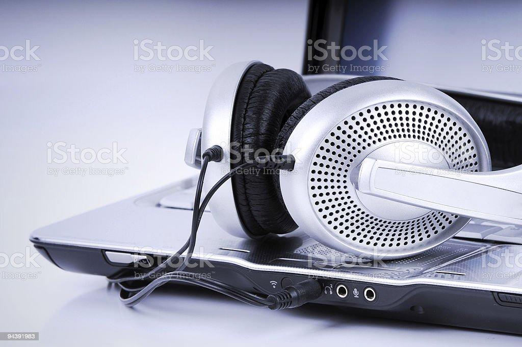 Hi-Fi Headphone and Laptop stock photo