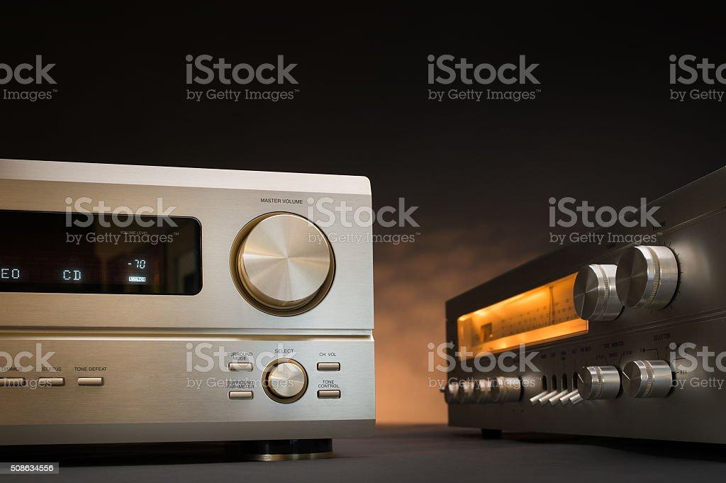 Hi-Fi receivers in studio stock photo