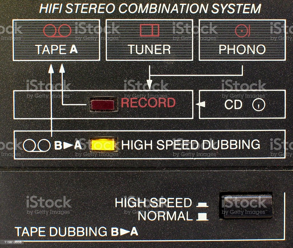 hi-fi system connection diagram stock photo