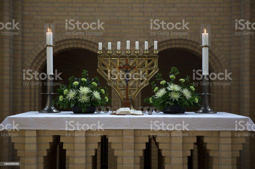 High altar in Grundtivig Church, Copenhagen, Denmark royalty-free stock photo