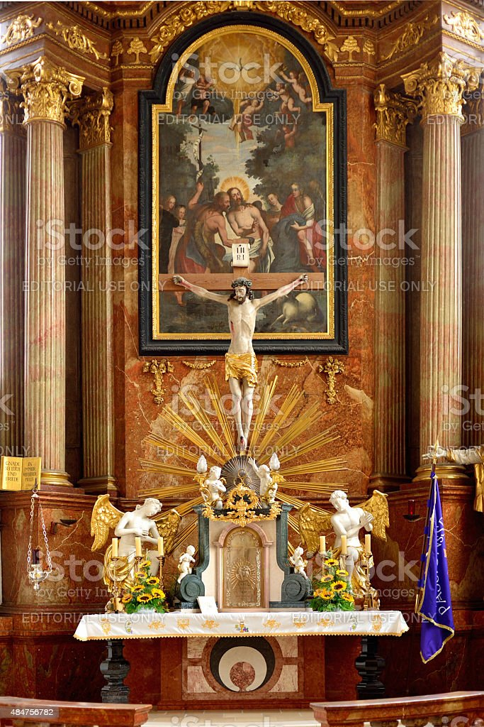 High altar of 1791 in the fortified church in Kirchschlag stock photo