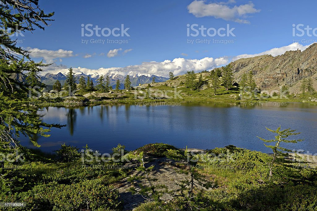 High altitude alpine lake stock photo