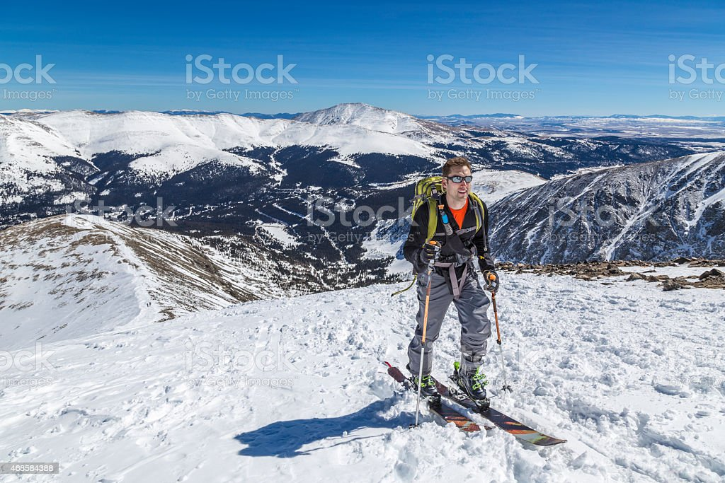 High Altitude Back Country Skiing stock photo