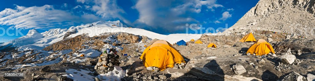 High altitude base camp snow mountain summits Mera Peak Himalayas royalty-free stock photo