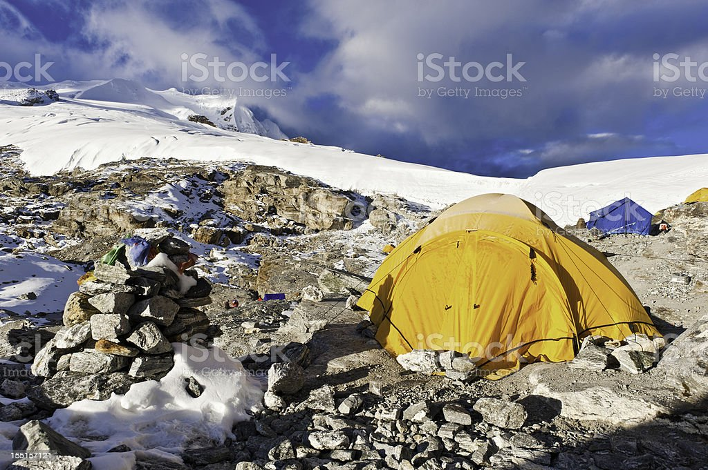 High altitude base camp tent on mountain Himalayas Nepal royalty-free stock photo