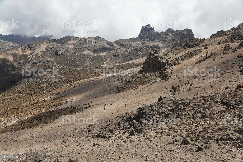 High altitude biking, Mt. Kenya royalty-free stock photo