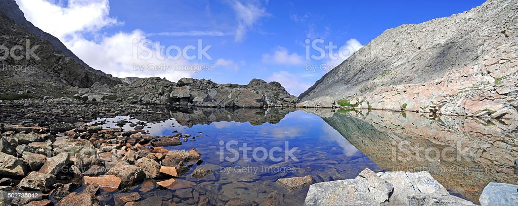High altitude clear alpine lakes in the Rocky Mountains stock photo