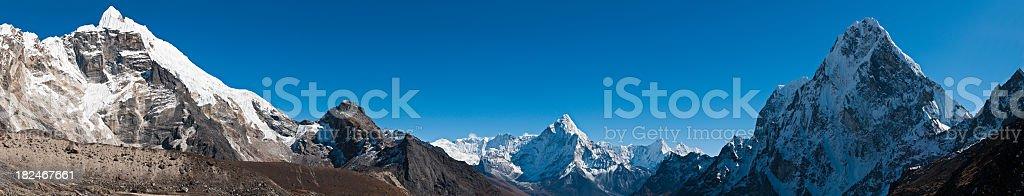 High altitude Himalaya peaks panorama Everest National Park Khumbu Nepal royalty-free stock photo