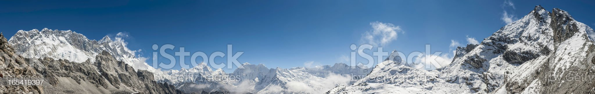 High altitude mountain peaks panorama Himalayas Nepal royalty-free stock photo