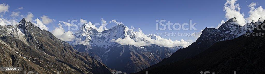 High altitude remote wilderness panorama snow mountain peaks Himalayas Nepal royalty-free stock photo