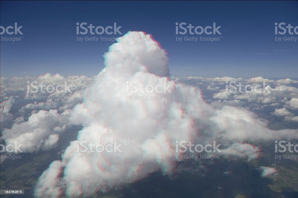 High altitude view of a cumulus cloud in 3D. royalty-free stock photo