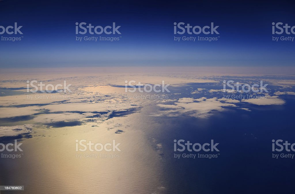 High altitude view of clouds over the ocean. royalty-free stock photo