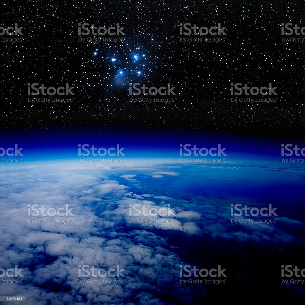 High altitude view of stars above the Earth. stock photo