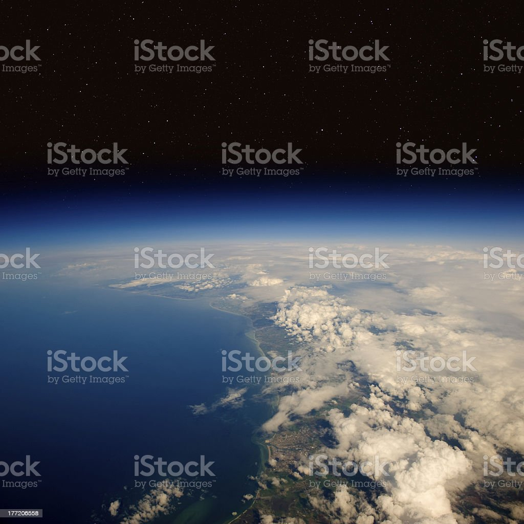 High altitude view of the Earth in space. stock photo