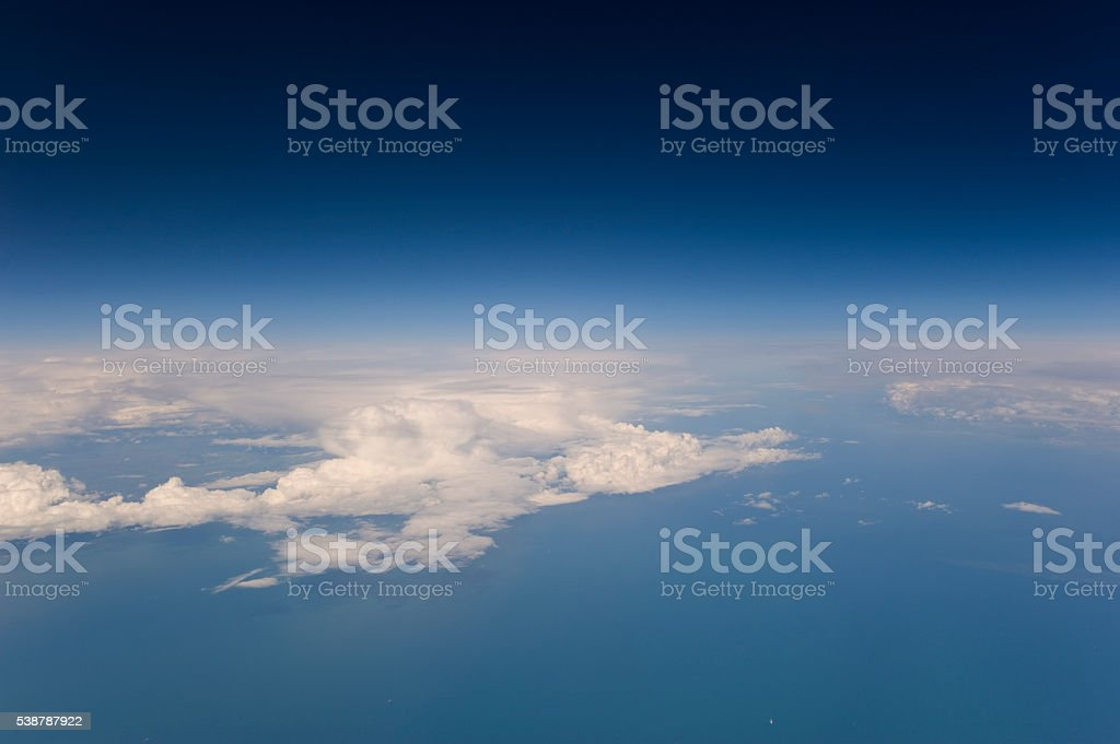 High altitude view of the weather. Clouds and blue sky. stock photo