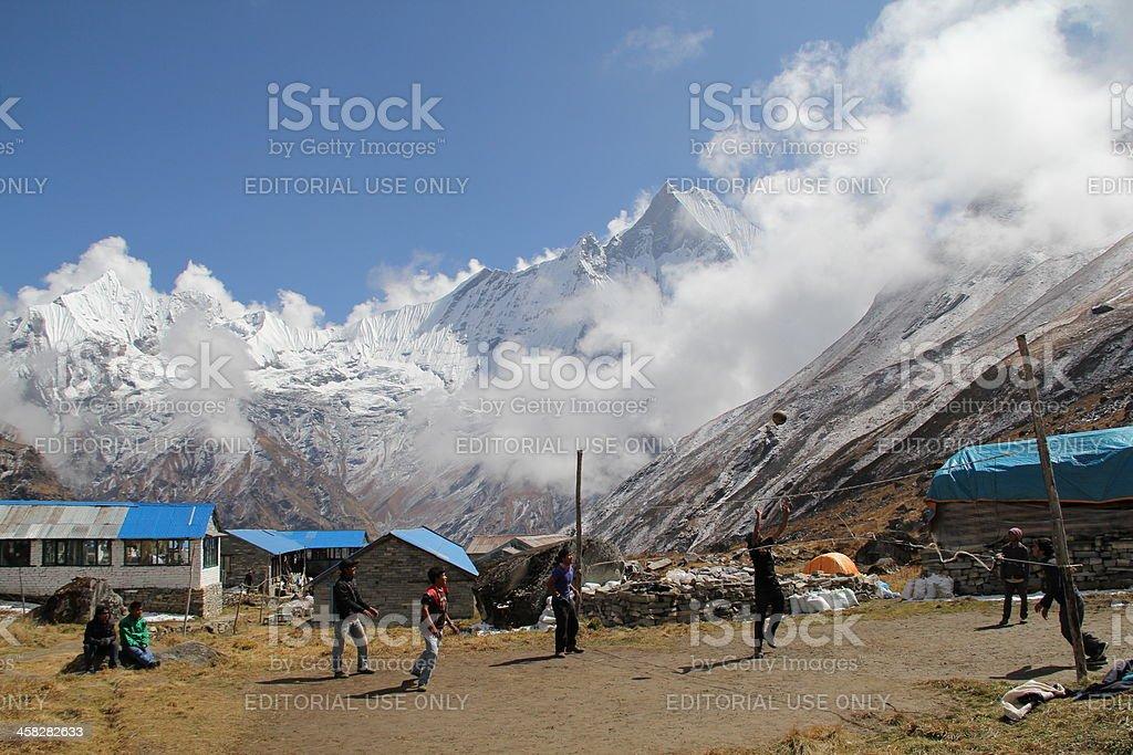 High Altitude Volleyball at Annapurna Base Camp-Nepal stock photo