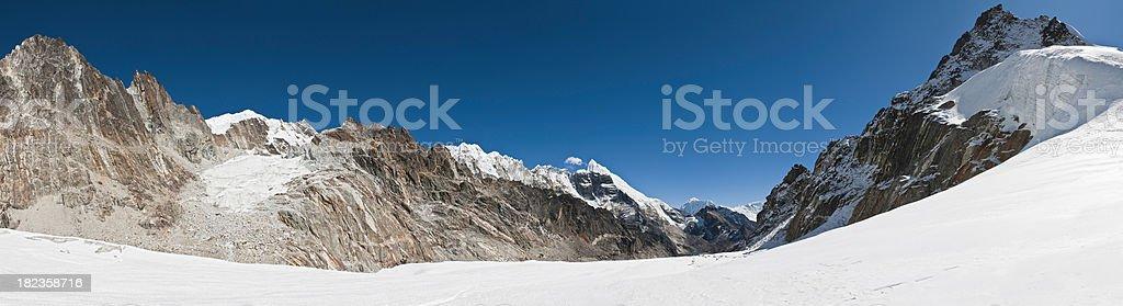 High altitude white wilderness snow mountain glacier panorama Himalaya Nepal royalty-free stock photo