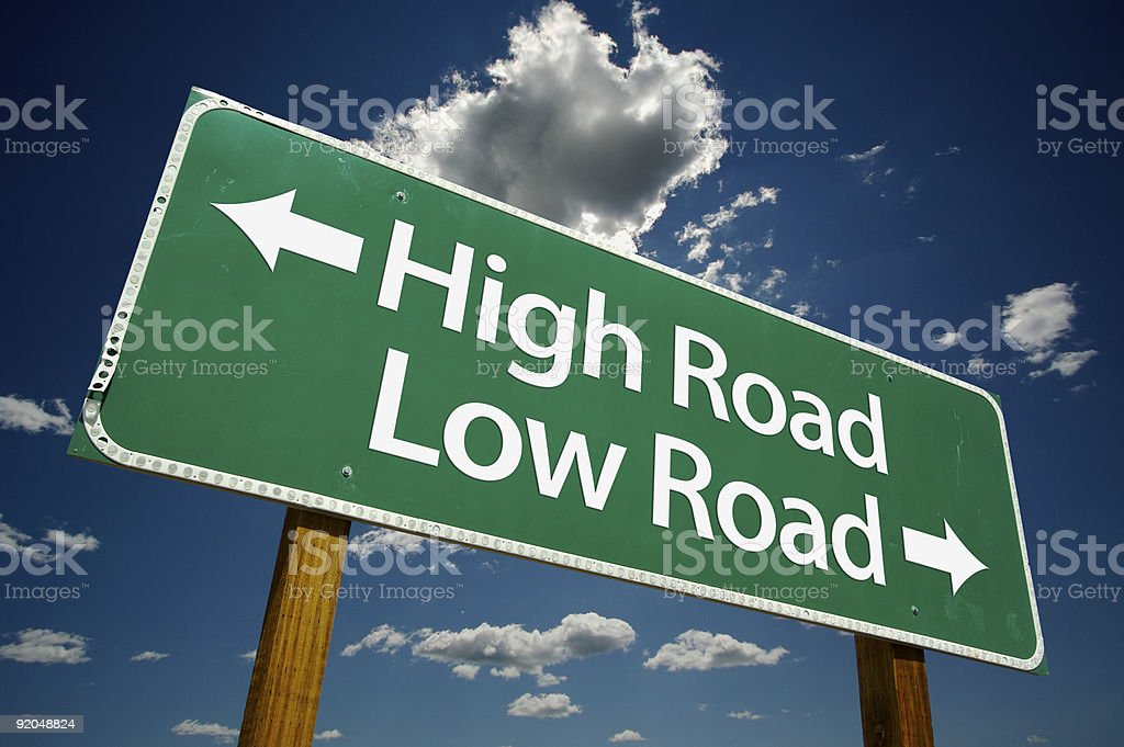 High and Low Road Highway Sign royalty-free stock photo