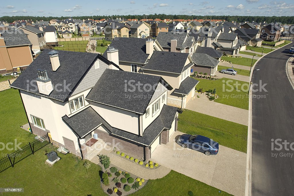 High angle concept drawing of suburban houses stock photo