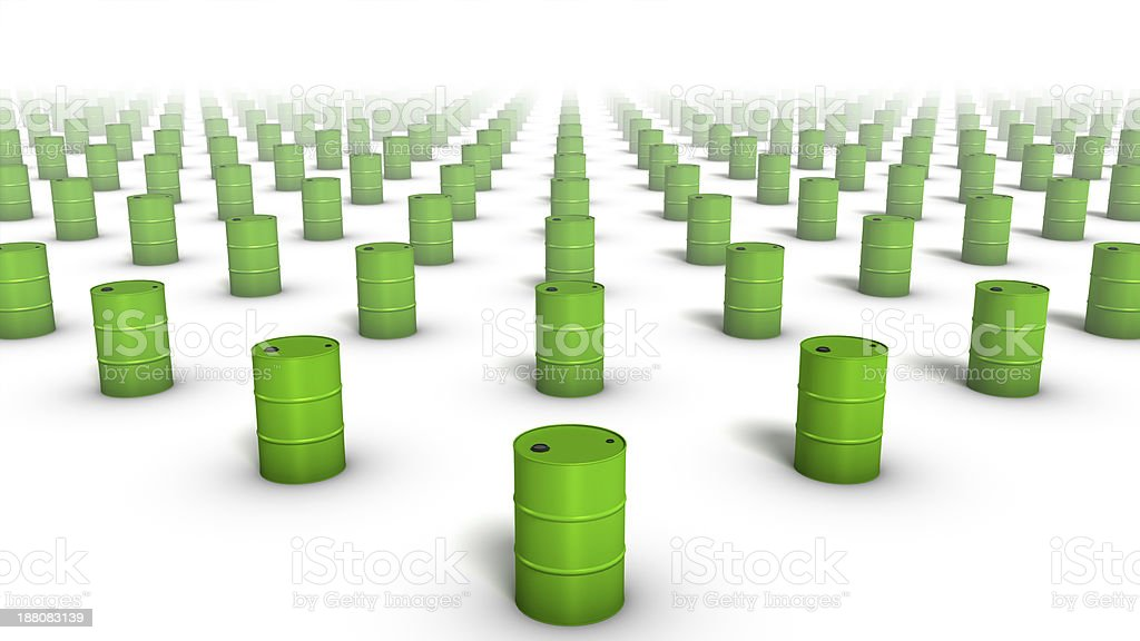 High angle diagonal view of endless Oil Drums stock photo