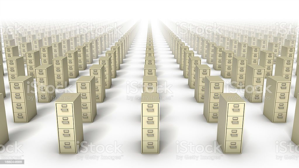 High angle front view of endless File Cabinets (Beige) royalty-free stock photo