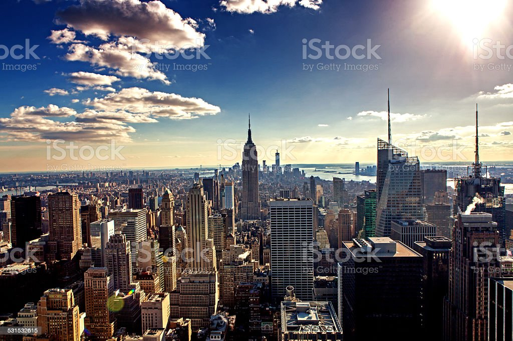 High Angle Manhattan New York stock photo