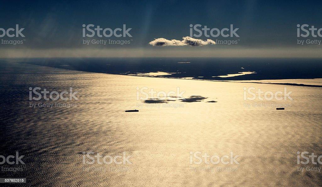 High Angle New York and Sea stock photo