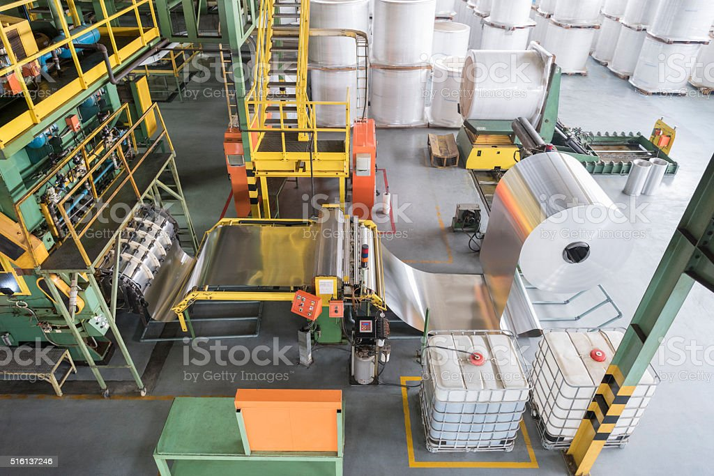 High angle of aluminium processing plant stock photo