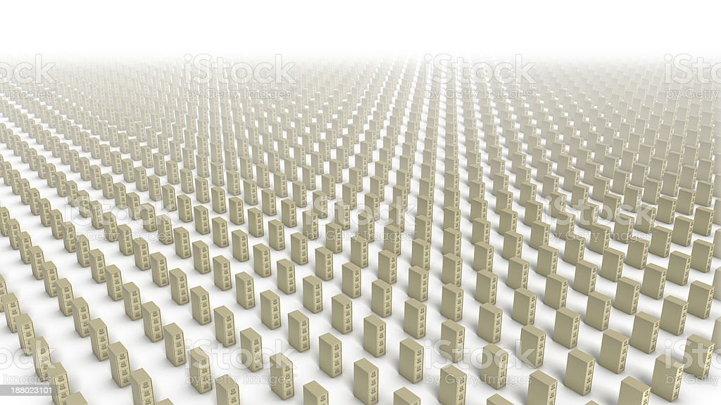 High angle of endless File Cabinets (Beige) royalty-free stock photo