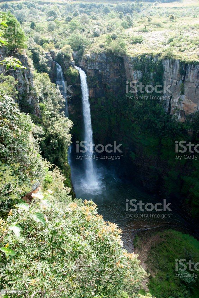 High angle of Mac-Mac Falls, Mpumalanga, South Africa. stock photo