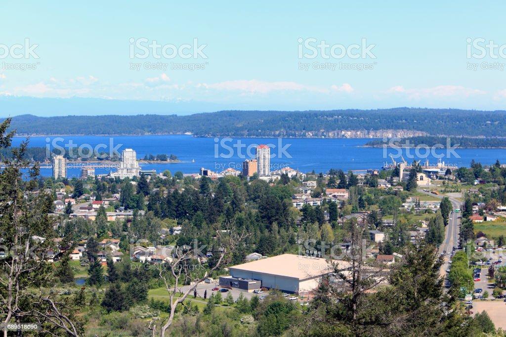 High angle of Nanaimo Vancouver Island looking toward Gabriola Island stock photo