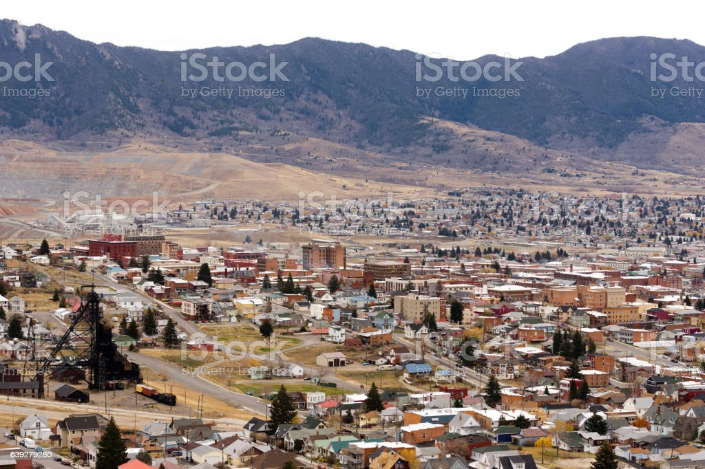 High Angle Overlook Butte Montana Downtown USA United States stock photo
