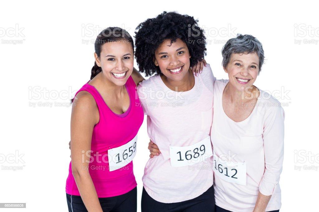 High angle portrait of happy female athletes stock photo