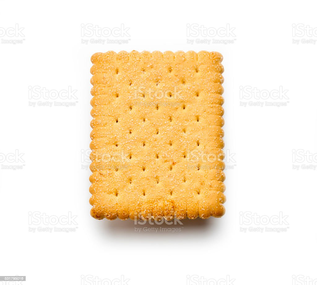 high angle shot Butter Biscuit isolated on white stock photo
