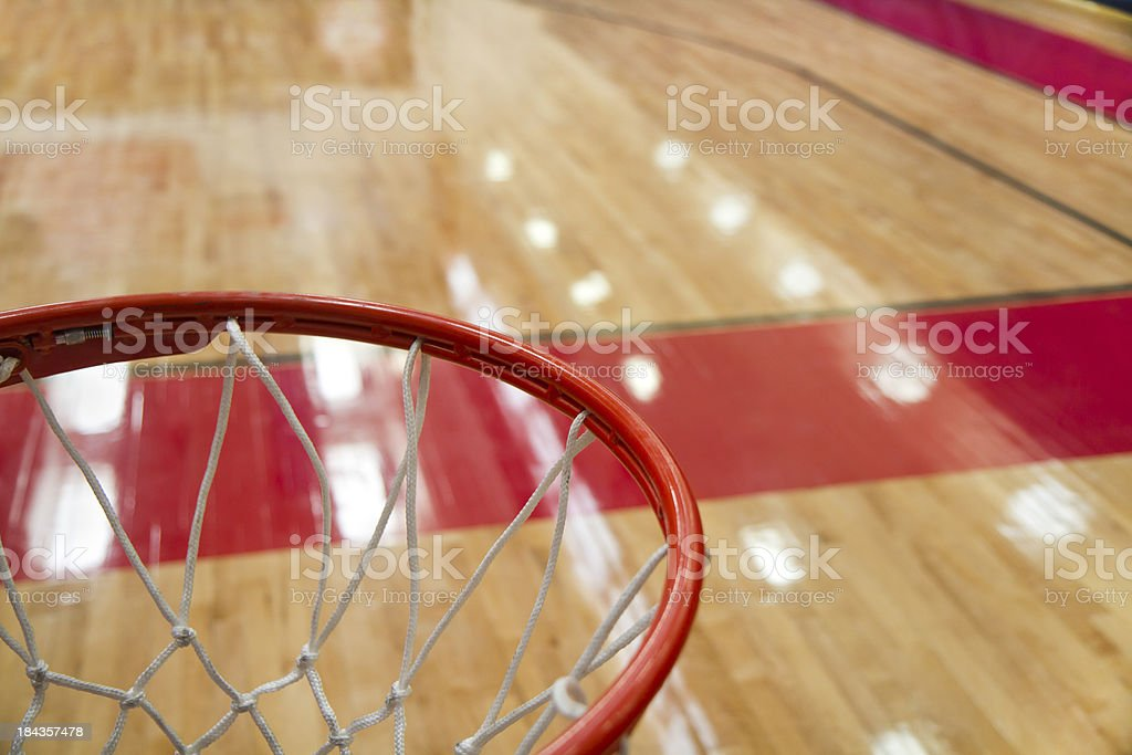 high angle shot of a basketball court from rim stock photo
