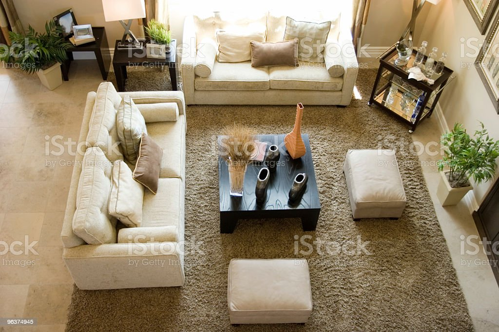 High angle shot of a contemporarily designed living room stock photo